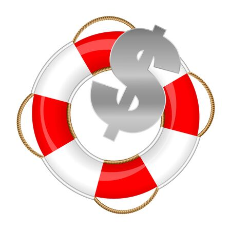 Dollar symbol in a lifebuoy, symbolic for rescue fund, financial emergency, business protection, bankruptcy and global economy depression. Vector illustration.