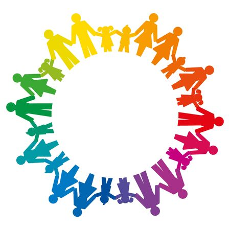 Rainbow circle formed by men, women, boys and girls holding hands. Pictograms of connected people standing in a circle to express friendship, family, relationships and society. Illustration. Vector.