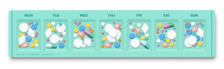 Pill organizer with to many drugs, symbol for overmedication, overdose, hypochondria, medical side effects, addiction to pills and big business of pharma industry. Isolated vector on white. Illustration