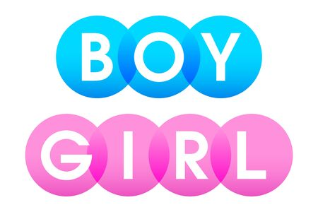 BOY and GIRL, letters of the words in bold white capitals shown on overlapping translucent blue and pink circles. Isolated illustration on white background. Vector.