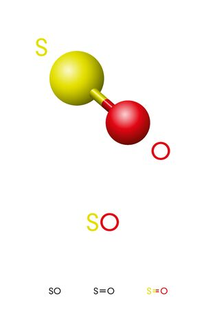 Sulfur monoxide, SO, molecule model and chemical formula. Sulfur oxide, an inorganic compound and colorless gas. Ball-and-stick model, geometric structure and structural formula. Illustration. Vector.
