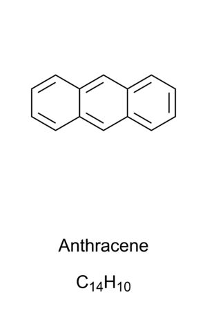 Anthracene skeletal formula and molecular structure. Polycyclic aromatic hydrocarbon, PAH. A component of coal tar and tobacco smoke. Structural formula. Illustration on white background. Vector.