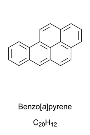 Benzopyrene skeletal formula and molecular structure. Polycyclic aromatic hydrocarbon, PAH. Carcinogenic. Can be found in coal tar, tobacco smoke and in grilled meat. Structure. Illustration. Vector.