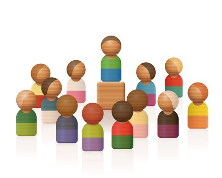 Wooden toy figures symbolizing a speech of an elevated lecturer with listening audience. Isolated vector illustration on white background.