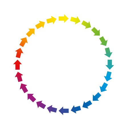 Arrows circle. Circuit symbol with rainbow gradient colored arrows. Isolated vector illustration over white background.