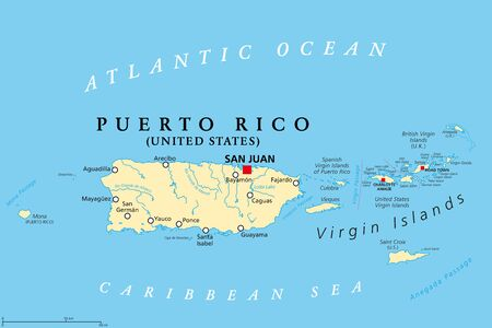 Puerto Rico and Virgin Islands, political map. British, Spanish and United States Virgin Islands. British overseas territory and unincorporated territories of the United States. Illustration. Vector.