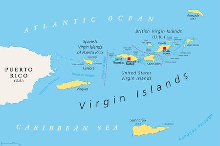 Carte politique des îles Vierges britanniques, espagnoles et américaines. Archipel de la mer des Caraïbes. Territoire britannique d'outre-mer et territoires non incorporés des États-Unis. Illustration. Vecteur. Vecteurs