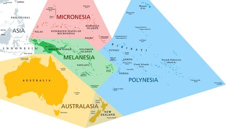Regions of Oceania, political map. Colored geographic regions, southeast of the Asia-Pacific region including Australasia, Melanesia, Micronesia and Polynesia. English. Illustration over white. Vector