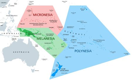 Melanesia, Micronesia and Polynesia, political map. Colored geographic regions of Oceania, southeast of the Asia-Pacific region. English labeling. Illustration on white background. Vector.