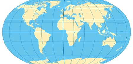 World map with most important circles of latitudes and longitudes, showing Equator, Greenwich meridian, Arctic and Antarctic Circle, Tropic of Cancer and Capricorn. English. Illustration. Vector.
