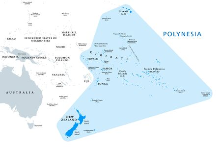 Polynesia, subregion of Oceania, political map. A region, made up of more than 1000 islands scattered over the central and southern Pacific Ocean. English. Illustration on white background. Vector.