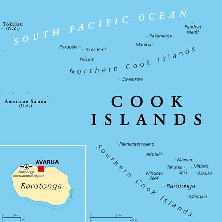 Cook Islands political map with capital Avarua. Self-governing island country in South Pacific Ocean in free association with New Zealand, comprising 15 islands. English labeling. Illustration. Vector