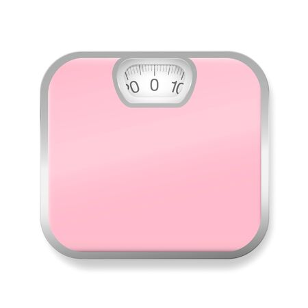 Pink bathroom scales with silver frame. Isolated vector illustration on white background. 向量圖像
