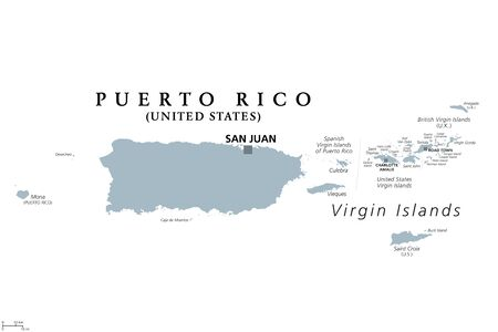 Puerto Rico and Virgin Islands, gray political map. British, Spanish and U.S. Virgin Islands. British overseas territory and unincorporated territories of the USA. Illustration over white. Vector.