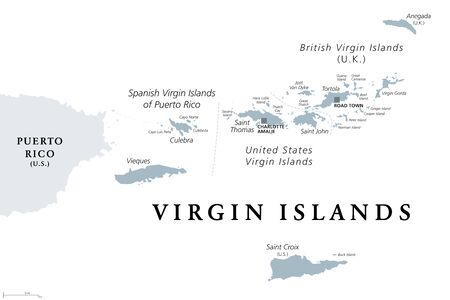 British, Spanish and United States Virgin Islands, gray political map. Archipelago in the Caribbean Sea. British overseas territory and unincorporated territories of the USA. Illustration. Vector.