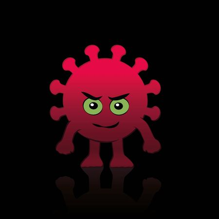 Coronavirus comic figure. Evil, bad covid villain character with eyes, mouth, hands and feet. Isolated vector illustration on black background. Stok Fotoğraf - 149677510