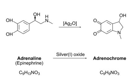 Synthesis of adrenochrome, chemical equation. Oxidation of adrenaline (epinephrine) by silver(I) oxide. Molecules, skeletal formulas and structures. A component of several conspiracy theories. Vector.