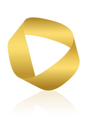Moebius strip, golden Mobius band. Surface with only one side and one boundary. Mathematical non orientable. Isolated icon vector illustration on white background.
