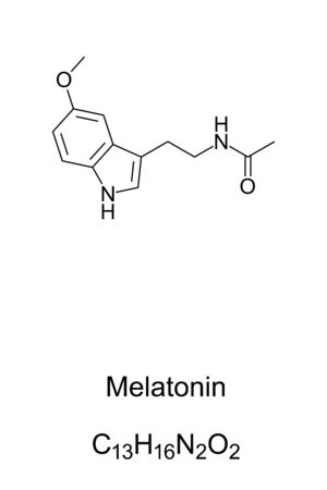 Melatonin, skeletal formula and molecular structure. Hormone that regulates the sleep-wake cycle, primarily released by the pineal gland. Dietary supplement. Structural formula. Illustration. Vector. Ilustração