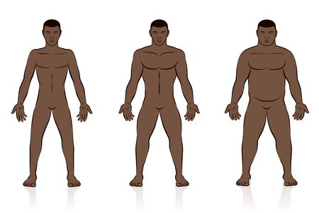 Body types. Slim, normal and fat black man. Underweight, normal weight and overweight male body. Comic vector illustration of three men with different anatomy. 向量圖像