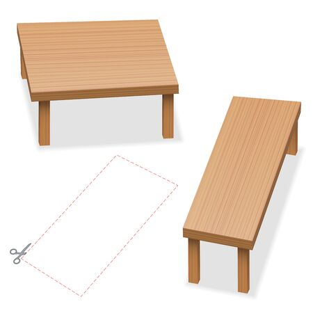 Optical illusion, two tables with same size of tabletop. Cut out the red rectangle, compare, check and wonder. Vector illustration on white background.