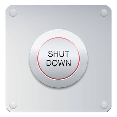 Shut down button on a chrome panel to stop machines or instruments, but also a company, the society, people or the whole world. Vector on white background. 向量圖像