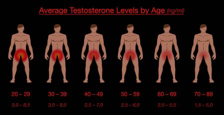 Testosterone levels by age and average values in ng / ml. Nude men with reddish genital regions, showing the gradually slowly loss of libido. Vector illustration on black background. Иллюстрация
