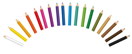 Crayons forming a radial curve. Small colored baby pencil collection. Isolated vector illustration on white background.