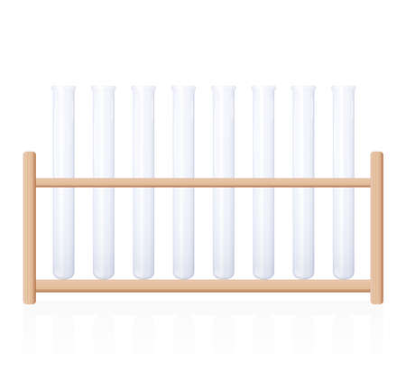 Test tube rack. Laboratory and pharmacy object for chemical, biological and clinical research, analysis or experiments. Isolated vector illustration on white background.
