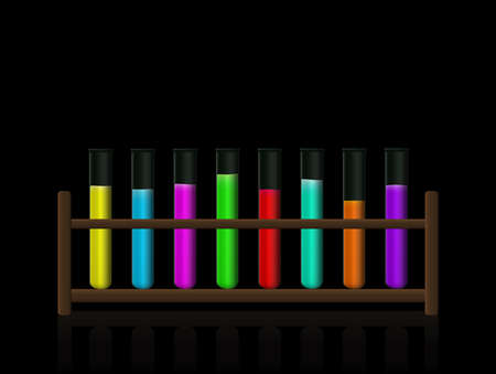 Chemical substances. Neon colored fluorescent toxic liquids in a test tube rack. Wooden holder with radiant colored fluids in eight laboratory glass tubes. Vector on black background.  イラスト・ベクター素材
