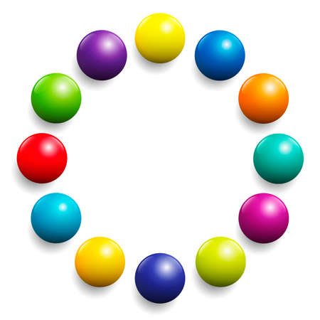 Colorful ball circle. Very shiny spectrum of colors formed by twelve balls. Vector illustration on white background.