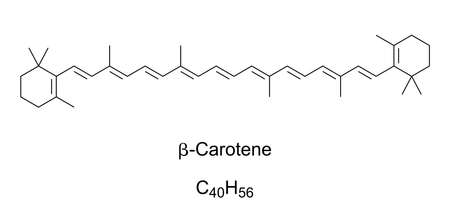 beta-Carotene, chemical structure. Organic, strongly colored red-orange pigment in fungi, plants and fruits. Most common form of carotenes in plants. Used as food coloring, E160a. Illustration. Illustration