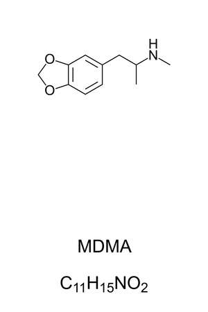 MDMA, known as ecstasy, E, or molly, chemical structure and formula. Psychoactive drug used for recreational purposes, but with bad adverse effects and illegal in most countries. Illustration. Vector. Ilustração