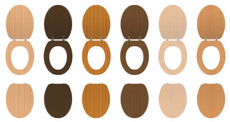 Toilet seats. Wooden set of different textured lavatory lids, lifted up and down - old fashioned collection from trees like walnut, oak, pine or birch. Isolated vector on white.