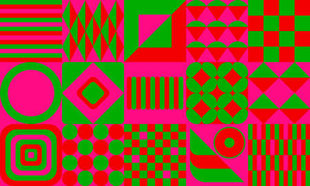 Extremely strong color contrast. Green, red, pink geometric pattern background with squares and circles. Vector wallpaper graphic illustration.
