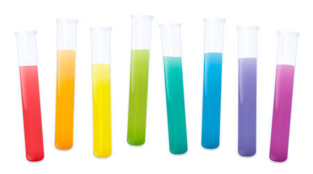 Colorful test tubes with rainbow colored substances, set of fluids in eight laboratory glass tubes. Isolated vector illustration on white background.