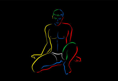 Sexy young man, posing with white pants. Colored lines artwork, outline vector illustration on black background, modern comic style.