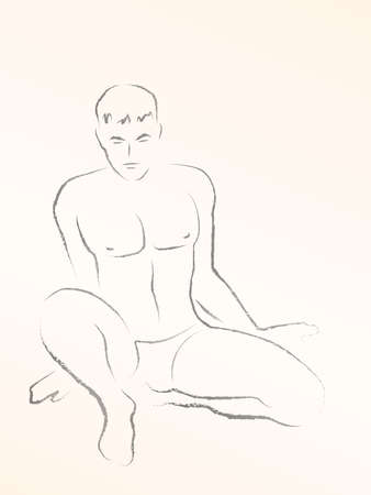 Naked, sitting young man. Male nude charcoal drawing artwork. Handsome, attractive, shirtless model. Vector sketch illustration on yellowed background. Vettoriali