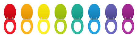 Colorful toilet seats. Set of different colored lavatory lids lifted up - rainbow gradient collection. Isolated vector illustration on white background.