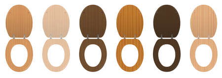 Wooden toilet seats. Collection of different textured open lavatory lids from various trees - elegant rustic dark and light samples. Isolated vector on white background.