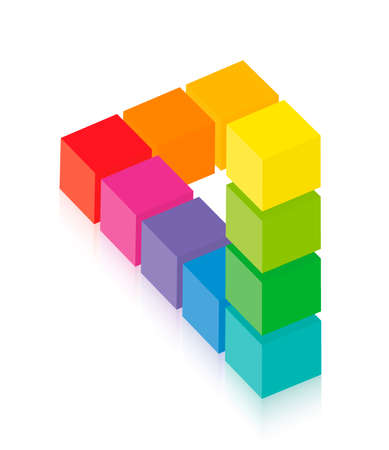 Impossible figure, optical illusion with colored cubes. Isolated vector on white background.
