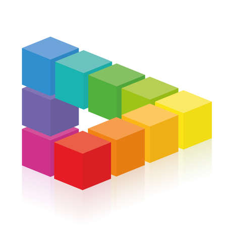 Optical illusion, impossible figure with colorful cubes. Isolated vector on white background. 向量圖像