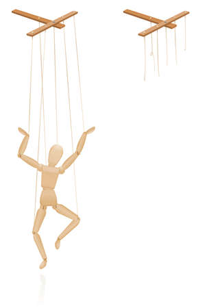 Puppet on strings. Puppet control bar with intact and broken strings. Torn cords as a symbol for freedom, independence, autonomy, liberty, detachment, release or escape. Isolated vector on white.
