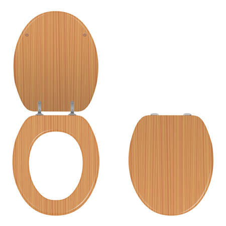 Toilet seat. Wooden lid lifted up and down, open and closed. Isolated vector illustration on white background.