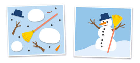 Snowman and his single parts - jumpled and put together. Vector comic illustration on blue background.