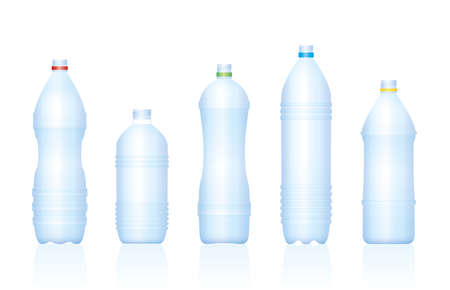 Plastic bottles. Various empty blue transparent unlabeled water bottle collection. Isolated vector illustration on white background. 矢量图像