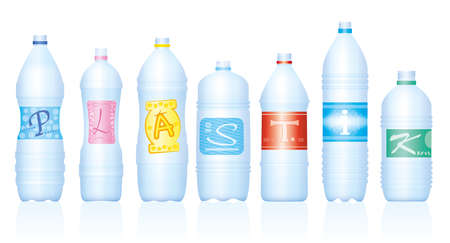 Plastic bottles which make the word PLASTIC. German labeling. Empty water bottles, symbolic for excessive consumption and waste of plastics. Isolated vector on white background.