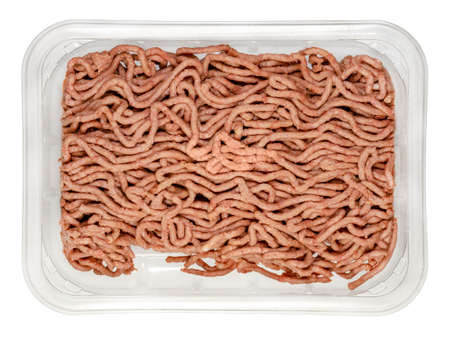 Vegan ground meat in a plastic tray. Фото со стока