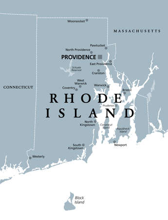 Rhode Island, political map with capital Providence. State of Rhode Island and Providence Plantations, RI, in the New England region of United States of America. Gray illustration, over white. Vector.