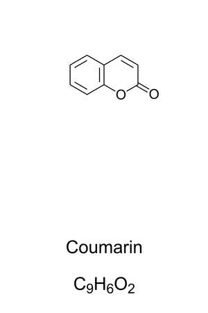 Coumarin chemical structure. Compound with sweet odor resembling the scent of vanilla. Artificial vanilla substitute, flavorant in soaps, rubber products, and in tobacco industry. Illustration. Vector